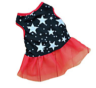 cheap -Cat Dog Dress Dog Clothes Stars Black Terylene Costume For Pets Women's Casual/Daily