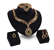 Women's Jewelry Set Multi-stone Fashion Personalized Luxury Synthetic Gemstones Rhinestone Chrome Jewelry 1 Necklace 1 Pair of Earrings
