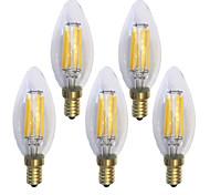 E14 Bombillas de Filamento LED C35 6 leds COB Impermeable Decorativa Blanco Cálido 600lm 2700K AC 100-240V