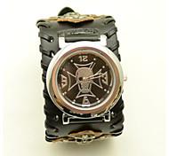 cheap -Men's Fashion Watch Quartz Leather Band Skull Black