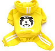 Недорогие -Кошка Собака Толстовки Комбинезоны Одежда для собак Животное Серый Желтый Красный Синий Розовый Хлопок Костюм Для домашних животных Муж.