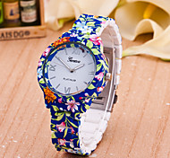 Women's Fashion Watch Quartz Plastic Band Flower Blue