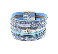 Fashion Women 7 Rows Stone Set Printed Leather Magnet Bracelet