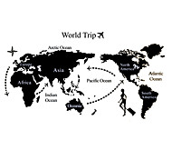 Big Size World Trip World Map Study Room Wall Stickers PVC Landscape Wall Decals
