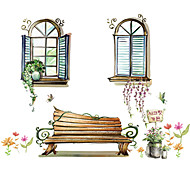 cheap -Window Scenery Glass Wall Stickers PVC Removable Fashion Flower Wall Decals