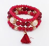 Bracelet/Charm Bracelets / Strand Bracelets Alloy / Glass Wedding / Party / Daily / Casual Jewelry GiftLight Blue / Black / White / Red /