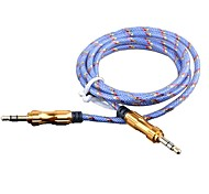 3,5 мм стерео между мужчинами аудио кабель алюминиевый корпус гальванического золота головки (сортированный цвет 1м 3 фута)