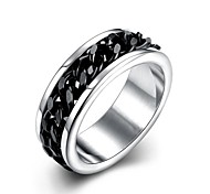 lureme® Classic Unisex Black Cuban Link Chain in Middle Stainless Steel Ring