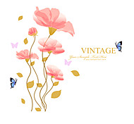 Woman Wedding Room Pink Lily Flower Vintage Wall Stickers Environmental Romance Butterfly Wall Decals