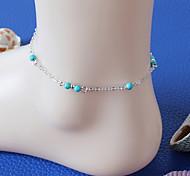 Women European Style Fashion Hot Handmade Imitation Turquoise Beads Anklet Jewelry