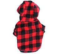 abordables -Chat Chien Pulls à capuche Vêtements pour Chien Points Polka Tartan Rouge Rose Noir/Rouge Polaire Costume Pour les animaux domestiques