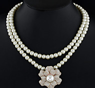 Women's Statement Necklaces Pearl Alloy Fashion Pink Jewelry Party Daily Casual 1pc