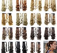 20inch lange lockige binden ponytails clip in schwarz / braun / blonde synthetische haar stück haarverlängerung für frauen