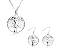 Women's Party Daily Cubic Zirconia Copper Silver Plated Tree of Life 1 Necklace 1 Pair of Earrings