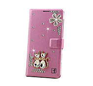 cheap -Case For Samsung Galaxy Samsung Galaxy Case Card Holder Rhinestone with Stand Flip Magnetic Full Body Cases 3D Cartoon Hard PC for