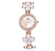 Недорогие -Женские Модные часы Часы-браслет Защита от влаги Кварцевый сплав Группа Цветы Элегантные часы Черный Белый