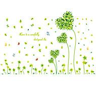 Romance Green Heart Grass Rural Wall Stickers Environmental DIY Bedroom Wall Decals PVC