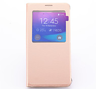 cheap -For Samsung Galaxy Note with Stand / with Windows Case Full Body Case Solid Color PU Leather Samsung Note 5