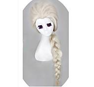 abordables -Mujer Pelucas sintéticas Sin Tapa Largo Ondulado Blanco Peluca de Halloween Peluca de carnaval Las pelucas del traje