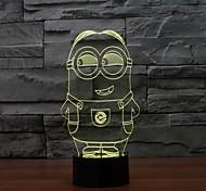 Недорогие -1 ед. 3D ночной свет Диммируемая USB Разноцветный ABS 1 лампа Батарейки не входят в комплект 22.0*14.5*4.5cm