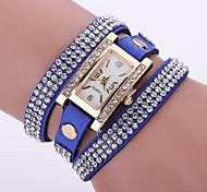 Damen Modeuhr Armbanduhr Armband-Uhr Quartz / Leder Band Blume Böhmische Schwarz Weiß Blau Rot Rosa Lila