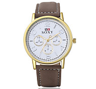 Men's Fashion Leather Wristwatches Analog Quartz Watch Casual Business Style Relogio Masculino  Cool Watch Unique Watch