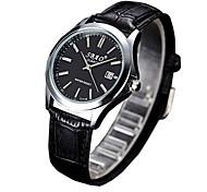 Pareja Reloj de Moda Cuarzo Reloj Casual PU Banda Negro Blanco Negro