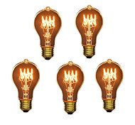 5pcs A19 E27 40W Incandescent Vintage Light Bulb for Household Bar Coffee Shop Hotel (220-240V)
