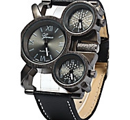 Men's Military Watch Quartz Three Time Zones Leather Band Cool Black Blue Red