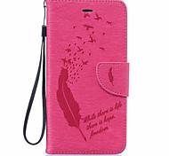 Недорогие -Кейс для Назначение Apple iPhone 6 iPhone 6 Plus Бумажник для карт Кошелек Защита от пыли Защита от удара со стендом Чехол  Перья Мягкий