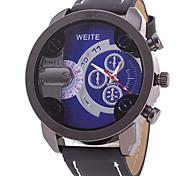 Men's Sport Watch Fashion Watch Wrist watch / Quartz Leather Band Cool Casual Black Orange Brown