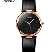 SINOBI Women's Fashion Watch Quartz Water Resistant / Water Proof Shock Resistant Rose Gold Plated PU Band Vintage Black