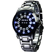 Masculino Relógio Esportivo Digital LED Calendário Noctilucente Aço Inoxidável Banda Luxuoso Preta