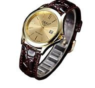 Couple's Fashion Watch Quartz Casual Watch PU Band Brown