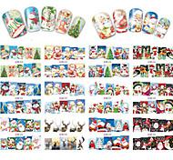 12 Designs Nail Art Stickers Beautiful Christmas Image Red Santa Claus Snowman Nail Beauty BN229-240