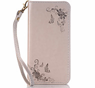 Diagonal Flower Pattern Magnetic Card Built-in Pattern Flip Lanyard Leather Case for iPhone  6/6S /5/5S/5E/5C
