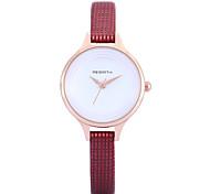 REBIRTH Жен. Модные часы Наручные часы Кварцевый / PU Группа минималист Повседневная Элегантные часы Черный Белый Красный Коричневый