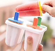 Set Of 4 Clear Plastic Ice Cream Tool Mould Popsicle Maker Fish Kitchen Mold DIY Long(Random Colours)