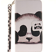 Painted Panda Pattern Card Can Lanyard PU Phone Case For Samsung Galaxy A3 A5 (2016)