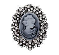 cristal de la manera de plata antigüedad de la vendimia broche de joyería de diamantes de imitación broches reina de las mujeres