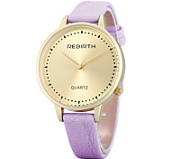 REBIRTH Women's Simple Fashion Gold Case Big Dail PU Leather Strap Quartz Fashion Wrist Watch Dress Watch
