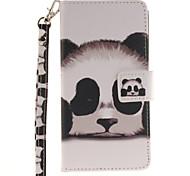 Painted Panda Pattern Card Can Lanyard PU Phone Case For Huawei P9 Lite P9 P8 Lite