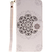 Painted Datura Flowers Pattern Lanyard PU Phone Case For Samsung Galaxy S5 S6 S7 edge Plus