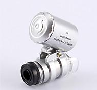 Недорогие -Микроскоп мельчайших ювелира 60X 2 светодиодный мини Карманный микроскоп Лупа ювелира Лупа