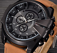 cheap -Big Mens Brand Leather Hours Male Military Army Reloj Hombre Relogio Masculino montres de marque de Luxe Watch gift
