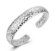 cheap -Women's Sterling Silver Adorable Bangles Cuff Bracelet - Personalized Fashion Round Circle Silver Bracelet For Christmas Gifts Wedding