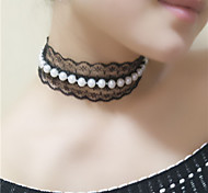 Women's Choker Necklaces Pearl Necklace Pearl Imitation Pearl Fashion White Black Jewelry Wedding Party Daily 1pc
