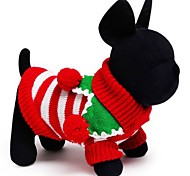 Cat Dog Sweater Dog Clothes Holiday Keep Warm Christmas Stripe White Red Green Costume For Pets