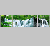 cheap -Prints Poster Waterfall Green Trees Modern Wall Pictures Print On Canvas  4pcs/set (Without Frame)