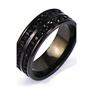 Men's Silver Black Crystal Alloy Band Ring